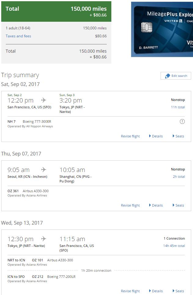 San Francisco to Tokyo, Seoul to Shanghai, Tokyo to San Francisco flights