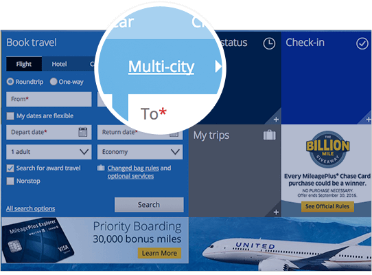 Use the United's multi-city search tool to find better routings
