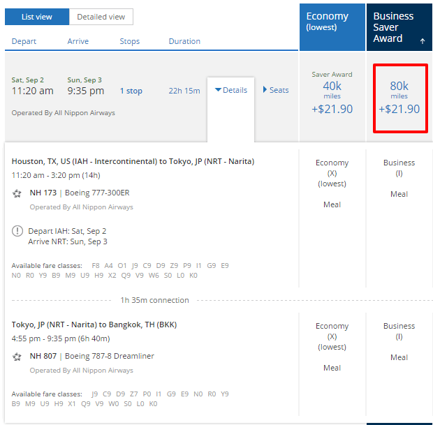 United award booking for IAH - BKK flight
