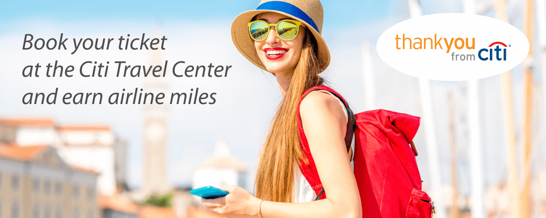 Book airline ticket with Citi Travel Center and earn miles