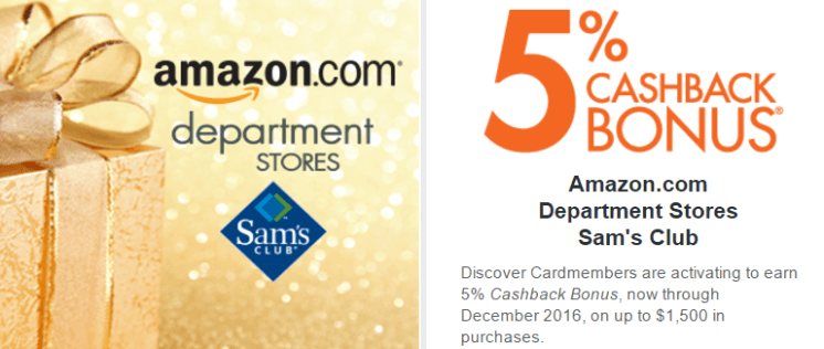 Discover it card 5% cashback calendar for the last quarter of 2016