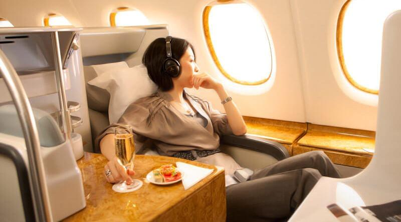 Emirates flat-bed seats in A380 business class