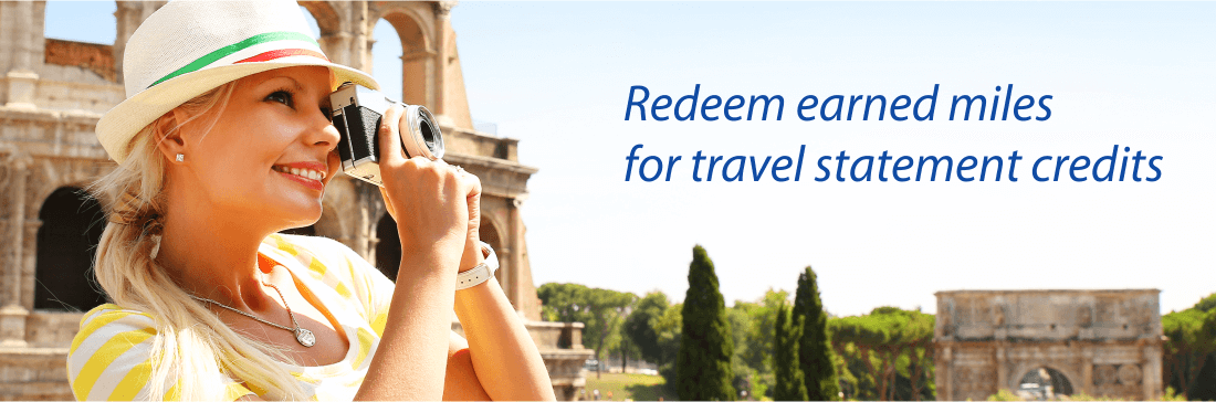 Redeem rewards miles for travel statement credit