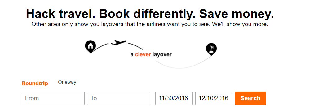 CleverLayover looks for the least expensive layovers