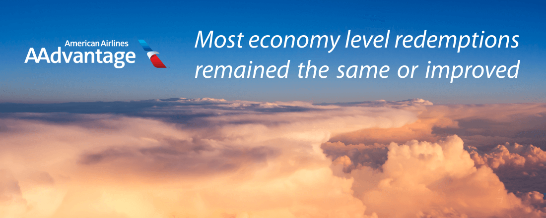 Most economy level redemptions of American Airlines remained the same or even improved