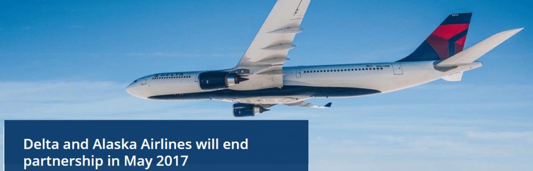 Delta and Alaska will endt partnership in 2017