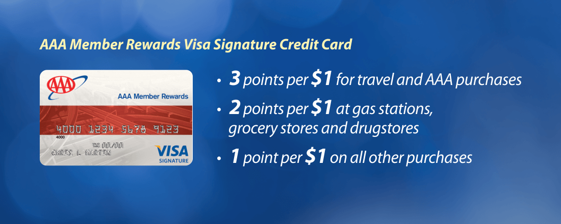 Earn points with AAA Member Rewards Visa Signature Credit Card