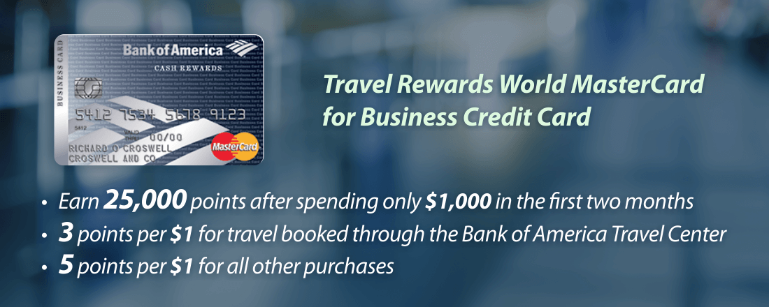 Earn points with Travel Rewards World MasterCard for Business Credit