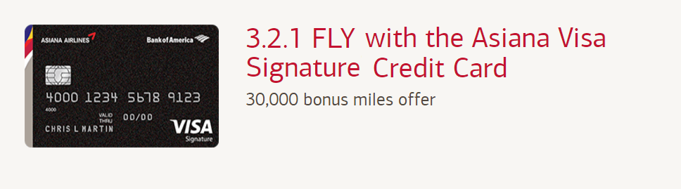 Asiana Visa Signature credit card sign-up bonus