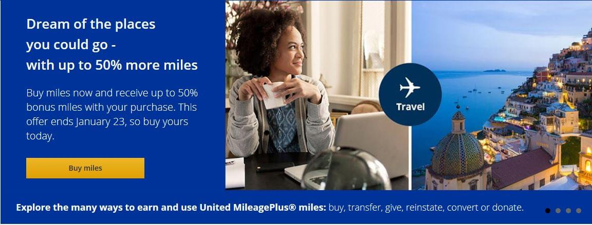 United Mileage Sale