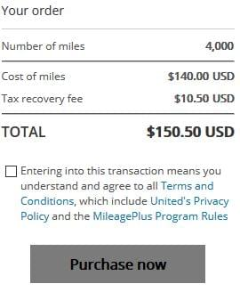Buying 4,000 United Miles