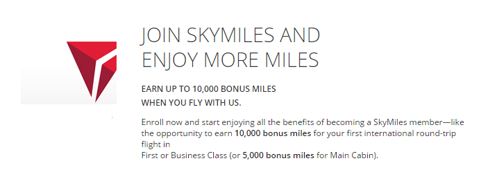Sign up for Delta SkyMiles program and get bonus miles