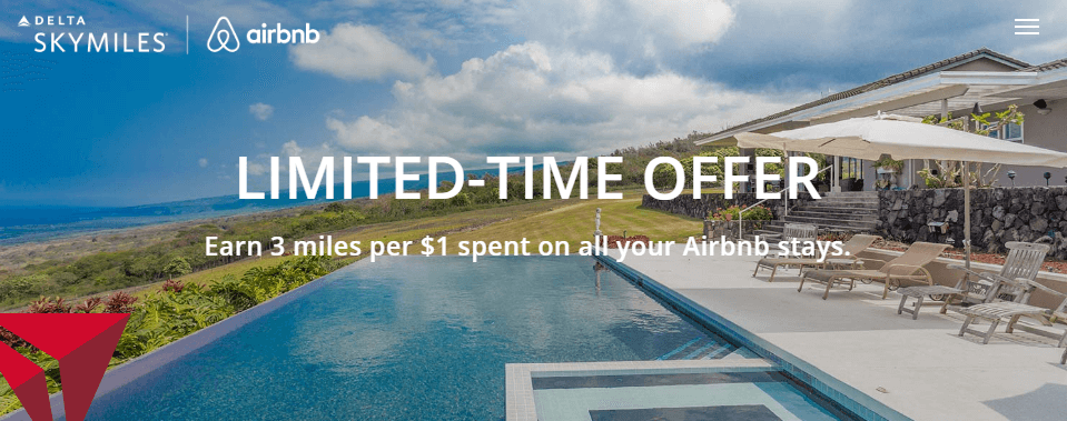 Earn 3 SkyMiles per $1 spent on all your Airbnb stays