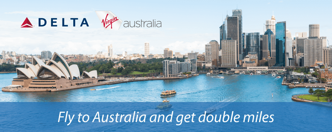 Get double miles flying to Australia on Delta and Virgin Australia