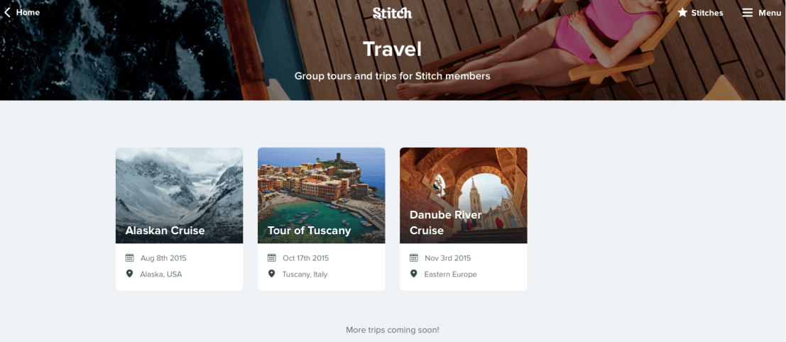 Stitch works alongside promotional partners to get special deals on the trips