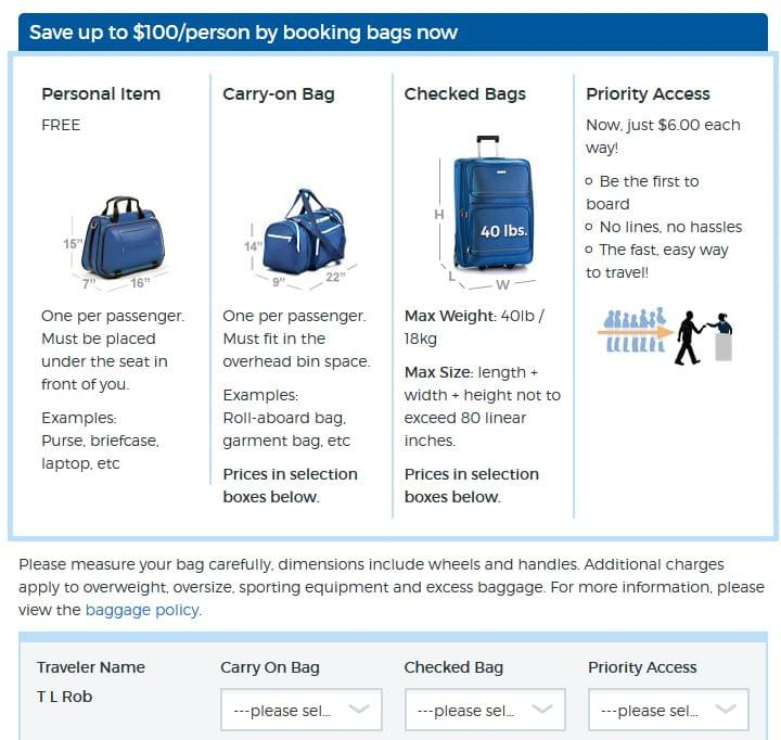 Allegiant baggage options
