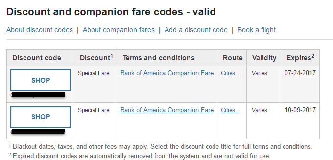 How to find discount and companion fare codes