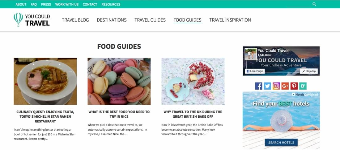 YouCouldTravel's Travel Guides section
