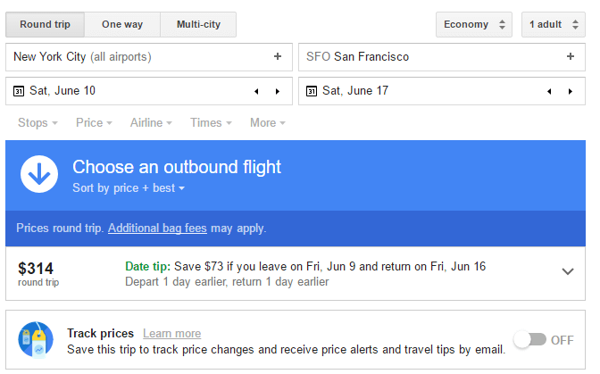 Use Google Flights to search for a round trip between New York and San Francisco