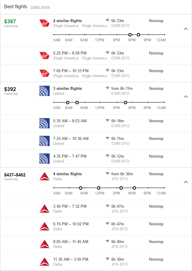 Google Flights Best Flights section