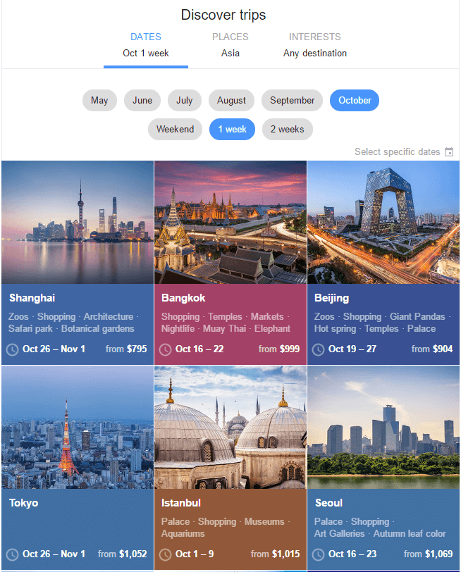 Find best deals to Asia using Google Flights Discover Destinations feature