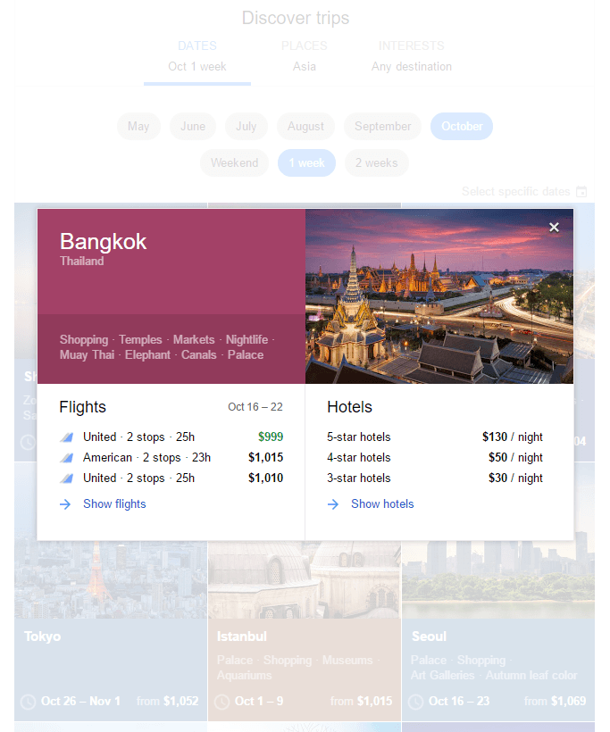 Google Flights search for Bangkok flights