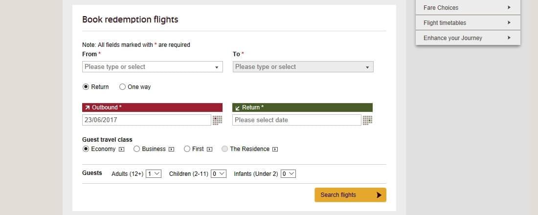 Booking Etihad award flights