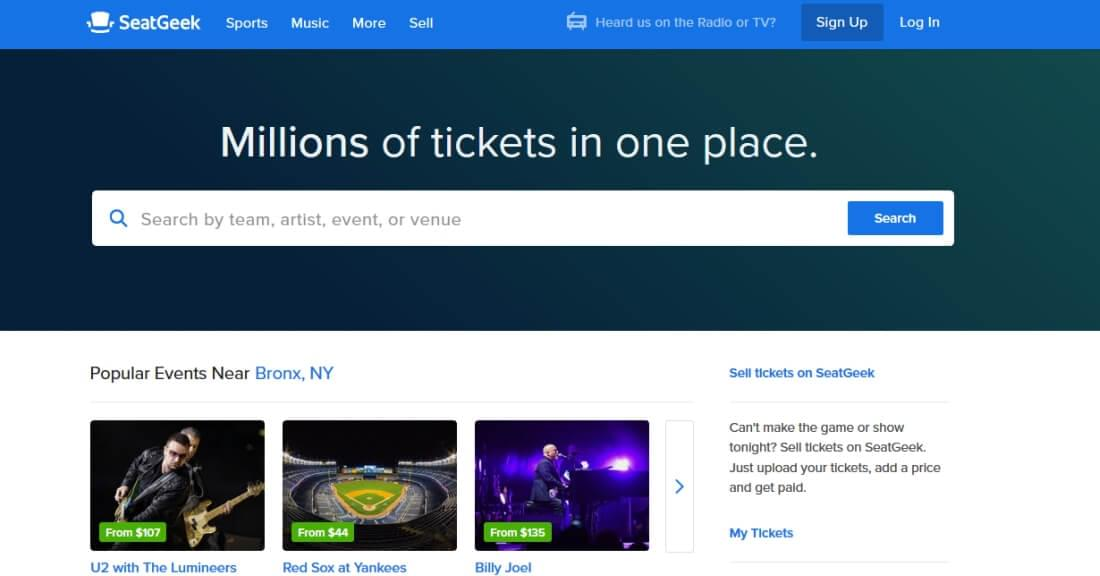 SeatGeek lists tickets from websites and marketplaces with 100% guarantees