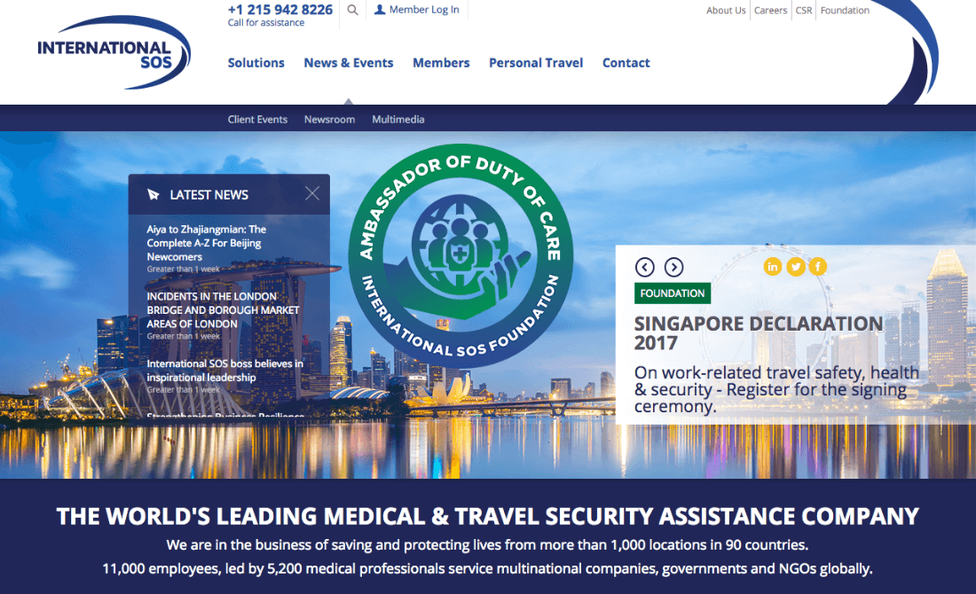 Leading medical and travel security assistance company