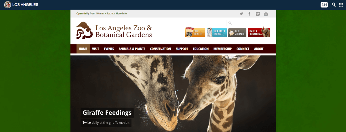 Los Angeles Zoo & Botanical Gardens website