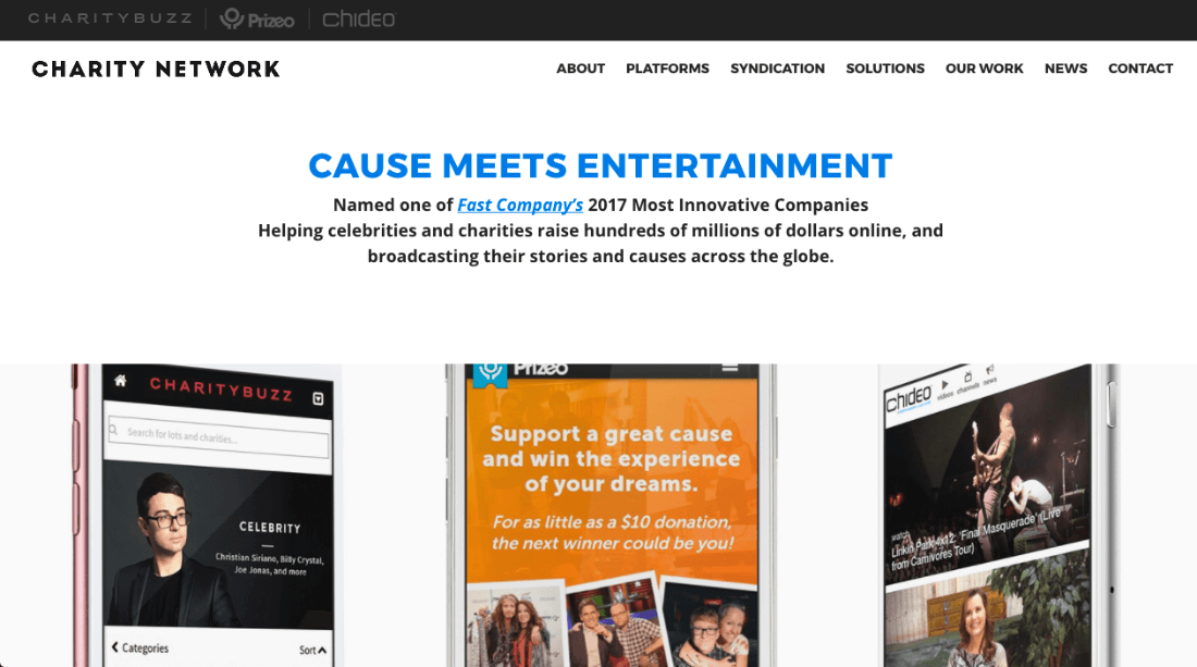 The Charity Network's website