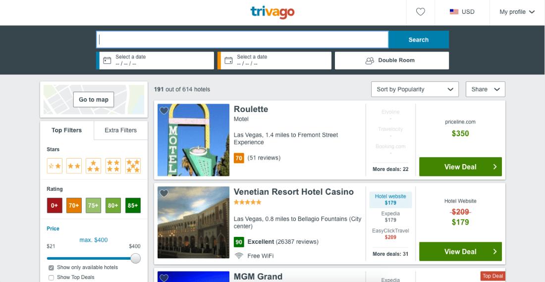 Trivago website