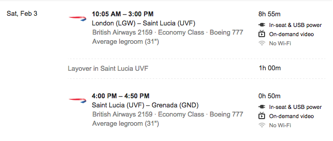 British Airways flight from London to Saint Lucia and to Grenada after making a one-hour stop