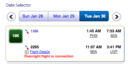 Flights between Phoenix and Saint Lucia with one layover in Miami