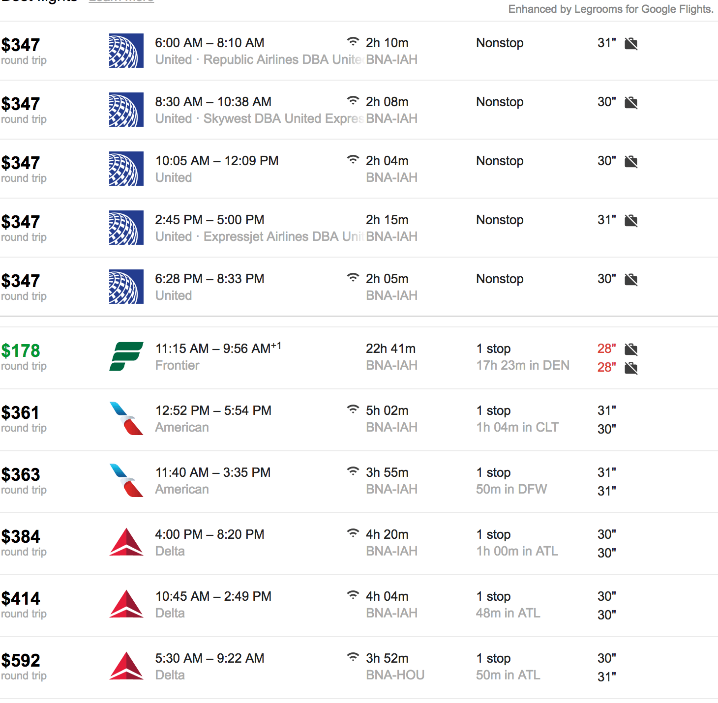The cheapest Nashville-Houston flight between with Frontier is with the least pitch