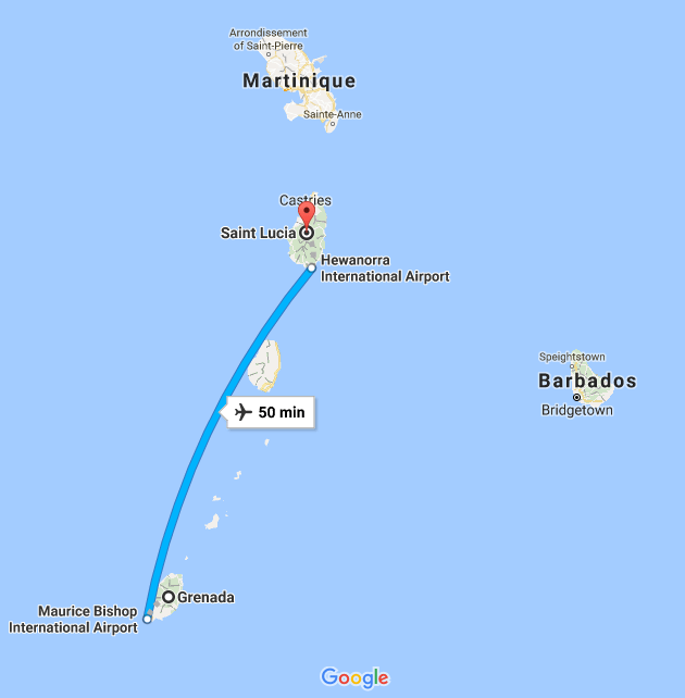Saint Lucia to Grenada flight takes 50 minutes