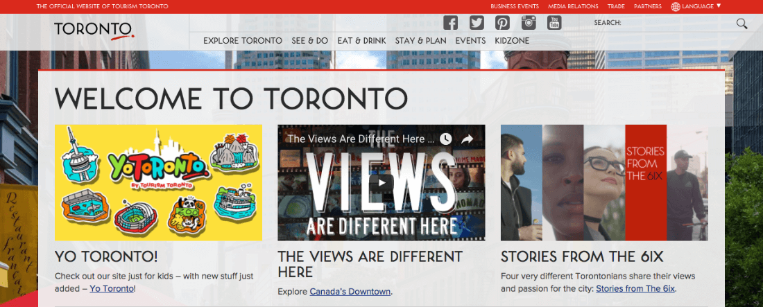 Tourism Toronto website