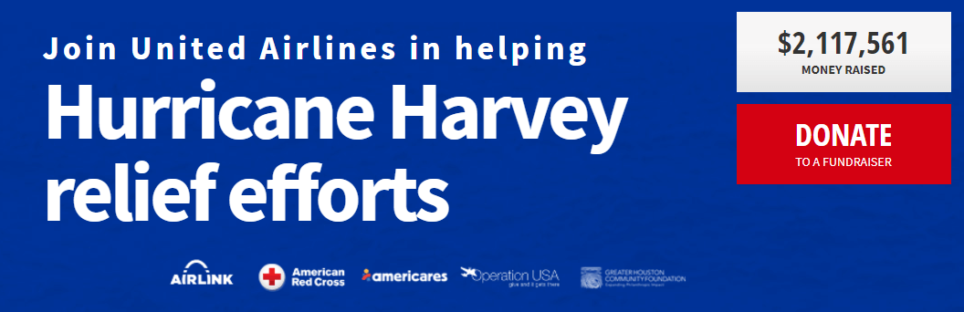 Join United Airlines in helping Hurricane Harvey relief efforts