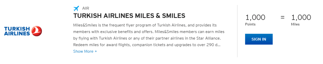 Transfer Citi ThankYou points to Turkish Airlines Miles & Smiles at a 1:1 ratio