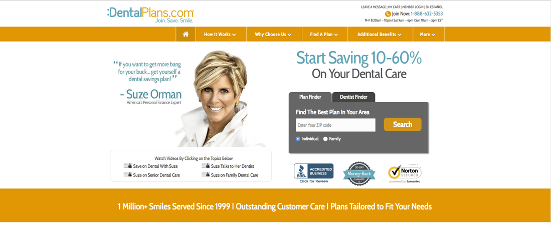 DentalPlans.com is an online marketplace for dental savings plans
