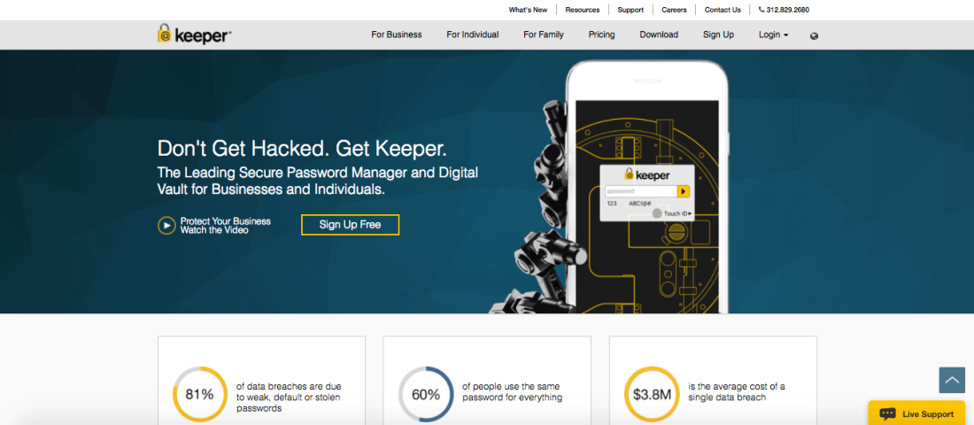 Keeper is a secure password manager and digital vault for businesses and individuals