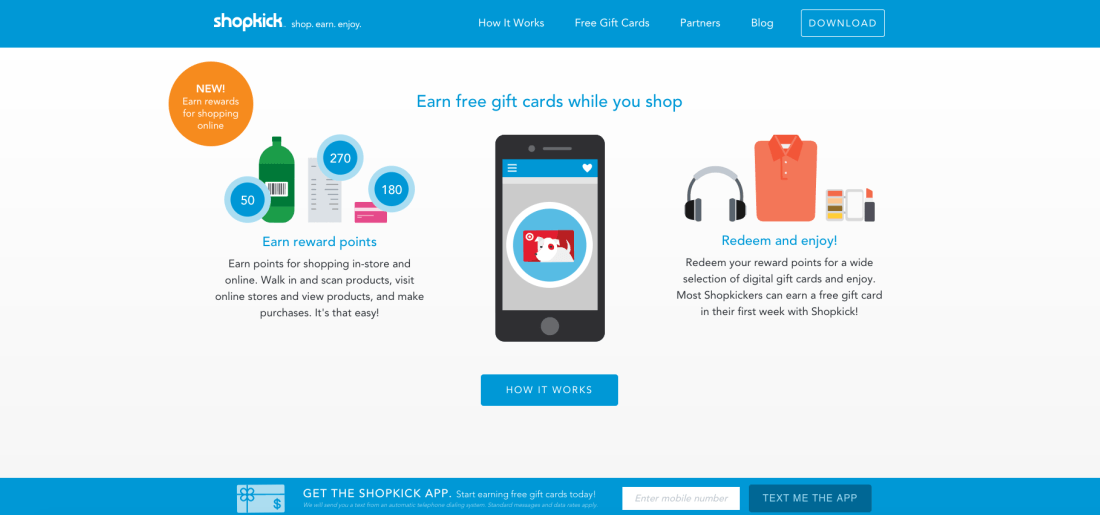 Shopkick helps to earn reward points shopping for your favorite brands at local stores and online