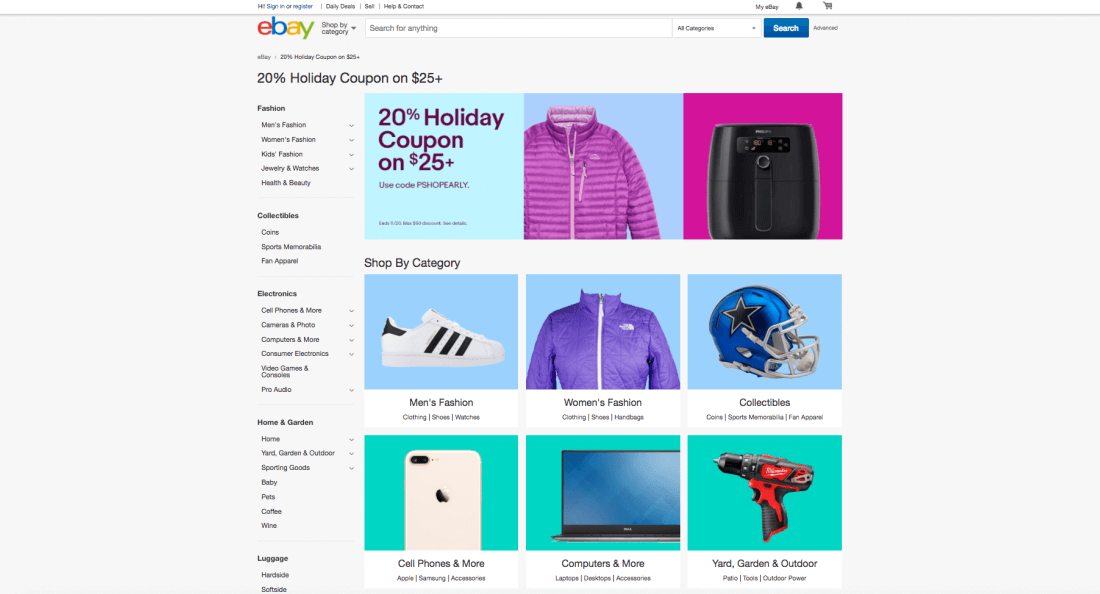 Many eBay sellers are offering 20% off through November 20