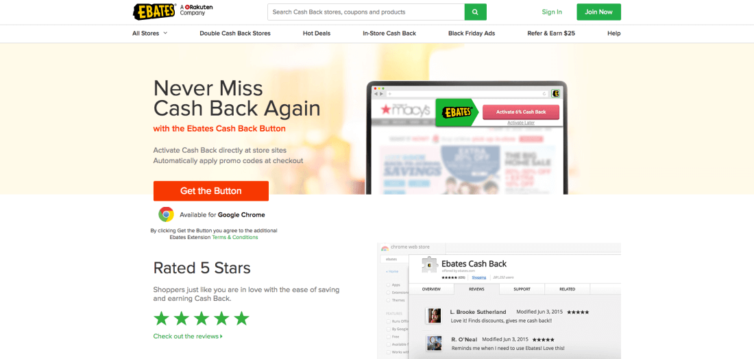 Ebates directs consumers to hundreds of online stores and does all the couponing for you
