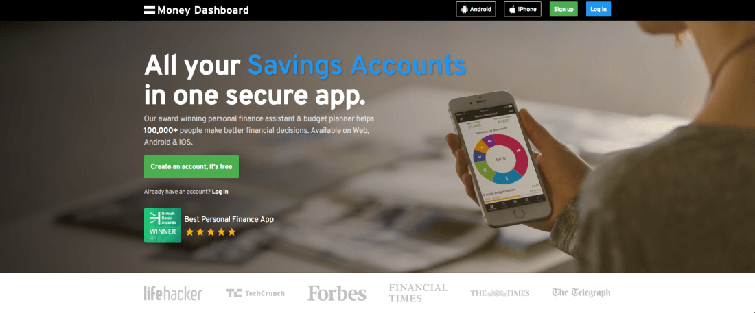 Money Dashboard provides bank-level security to protect your data