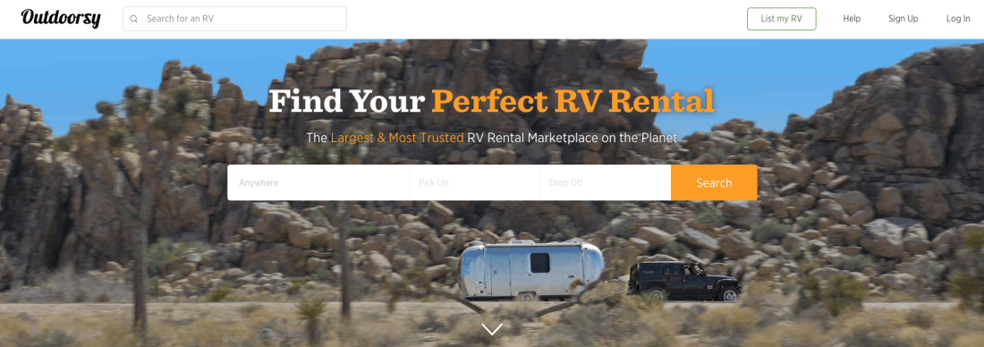 Outdoorsy is the most comprehensive platform for outdoor travelers to rent RVs in the nation