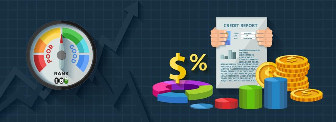 Shows credit score and credit report