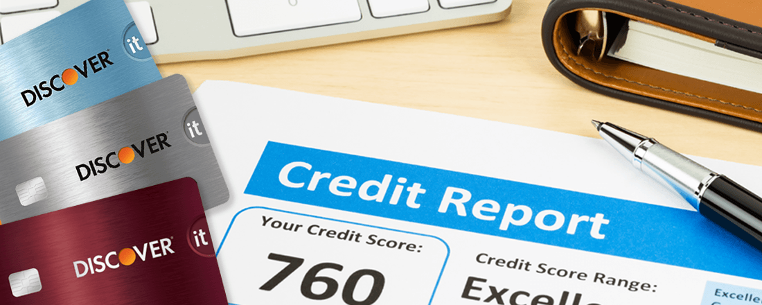 Credit report with three Discover cards