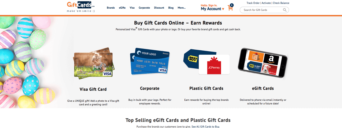 Shows screenshot of giftCards home page