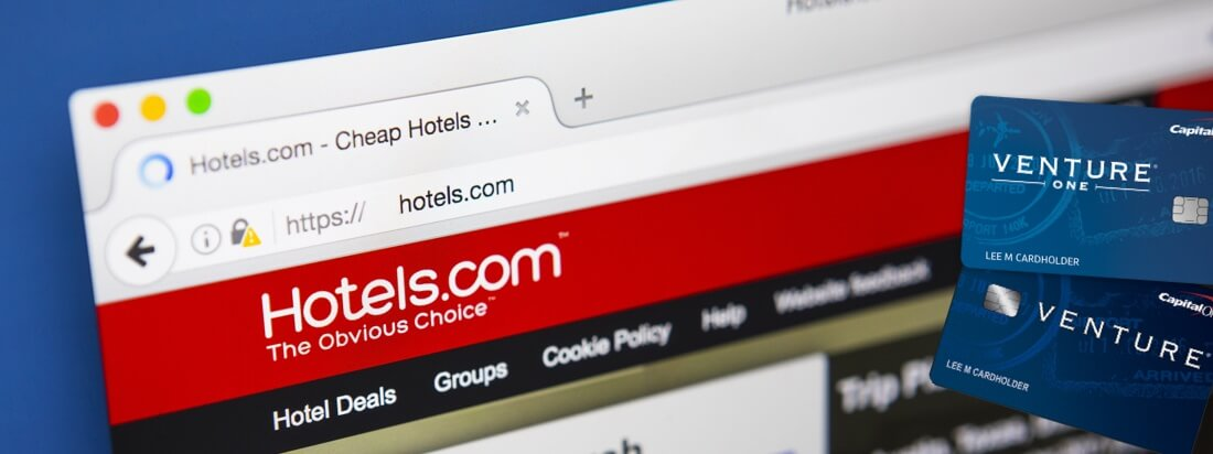Shows Hotels.com and Venture Credit Cards under angle